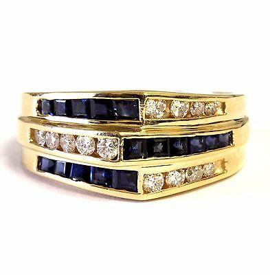 14k yellow gold .25ct SI2 H diamond sapphire womens estate ring 5.5g vintage
