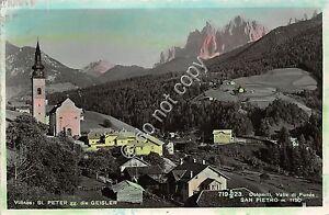 Cartolina-Postcard-San-Pietro-Val-Funes-panorama-1949