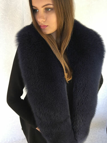 Blue Fox Fur Stole Saga Furs Collar Dark Blue 70/' 180cm