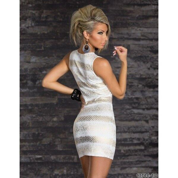 591 Stupendo Elegante Cocktail Festa Sera Sera Sera Vestito Aderente Bianco   oro 520154