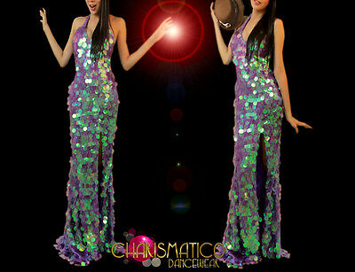 CHARISMATICO Diva Drag queen Iridescent jumbo sequin covered purple pageant gown