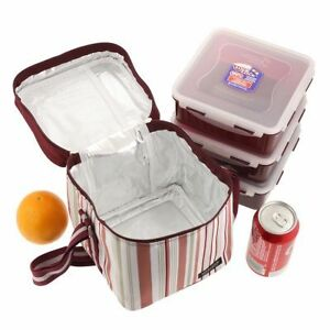 Lock-amp-Lock-Large-Lunch-Set-Insulated-Bag-3-Food-Containers-Ice-Pack-Square-Box