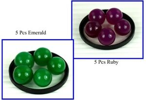 New Year's Offer 300 Ct 10 Pcs Natural Emerald & Ruby Round Gemstone Ball Lot