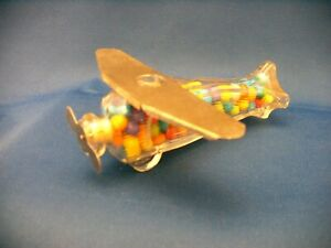 VINTAGE CLEAR GLASS & TIN TOY AIRPLANE PATENT 113053 CANDY CONTAINER  CIRCA 1939