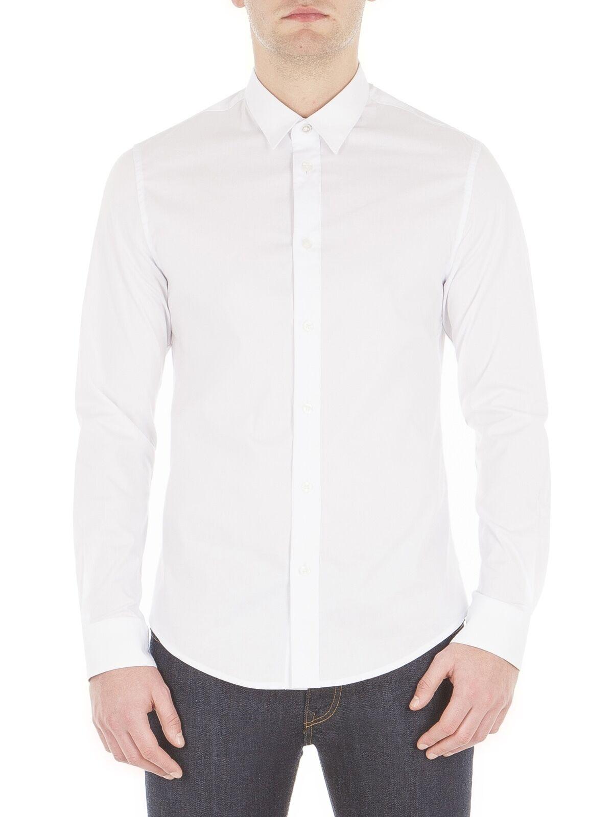 Ben Sherman Da Uomo cotone stretch Popeline Camicia Slim Fit Manica Lunga Colletto regolare