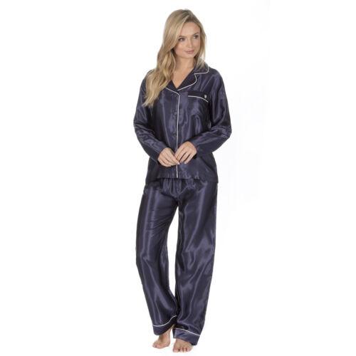 Womens//Ladies Long Sleeve Satin Stripe Pyjamas Pyjama PJ Nightwear Set Size 8-22
