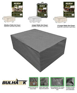BULHAWK® QUALITY BROWN OUTDOOR CUBE DINING TABLE CHAIRS GARDEN COVER WATERPROOF