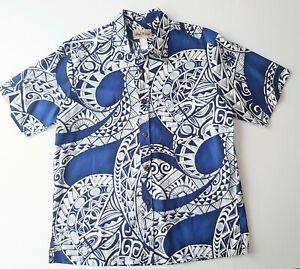 New-Vintage-Blue-Hawaii-Mens-Size-L-Hawaiian-Short-Sleeve-Cotton-Shirt