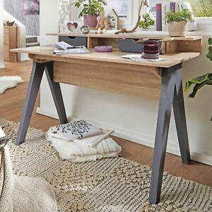 Detalles de FineBuy mesa de diseño oficina mesa 120 cm Sonoma roble / mesa  de ordenador gris