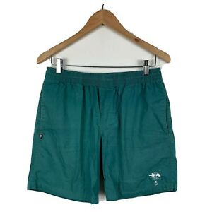 Stussy-Mens-Shorts-Size-32-Green-Elastic-Waist-Swim-Shorts-With-Pockets