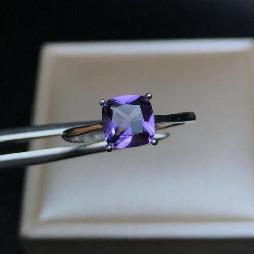 Moderner Amethyst Lila klarer Stein Ring Fingerring 925 Silber Größenverstellbar