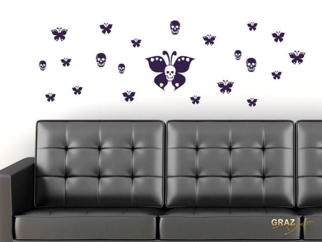 Wandtattoo Kinderzimmer Tattoo Set für Wohnzimmer Schmetterlinge Totenköpfe