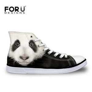 Animal-Print-Womens-Lace-up-Hi-High-Top-Comfy-Ankle-Sneakers-Casual-Canvas-Shoes