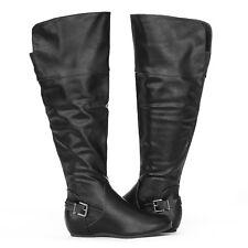 """Edge Trendy 1"""" Hidden Wedge Heel Pewter Buckle Accent Knee High Boots Black Sz 8"""