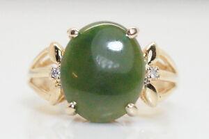 WOW-Vintage-14K-Yellow-Gold-5-Carat-Verdite-amp-Diamond-Ring-Size-5-5