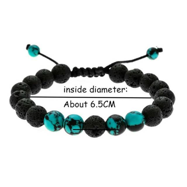 fashion Adjustable Lava Stone Bracelet Women Natural Black Volcanic Buddha Bead