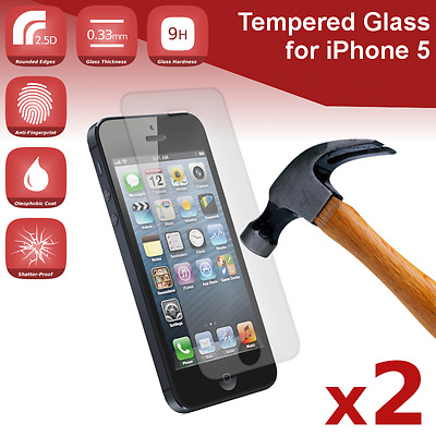 2X iPhone 5/5S/SE/5C Premium Clear Tempered Glass Screen Protector from Canada