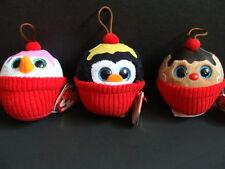 NWT TY Cupcake Baby Beanies Set 3 Ornaments Boos Christmas Snowman Penguin NEW