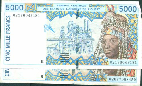 2 F-VF CONDITION WEST AFRICAN STATES LOT 2x 5000 FRANCS 2 DIFFERENT COUNTRIES