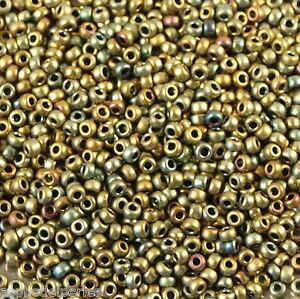 10 g de perles de rocaille Bronze-Olivine iris Matte F460H taille 11 PVfn90Nm-08053945-159635335