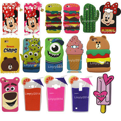 3D Cute Cartoon Animal Soft Silicone Phone Back Case Cover Skin for Phones