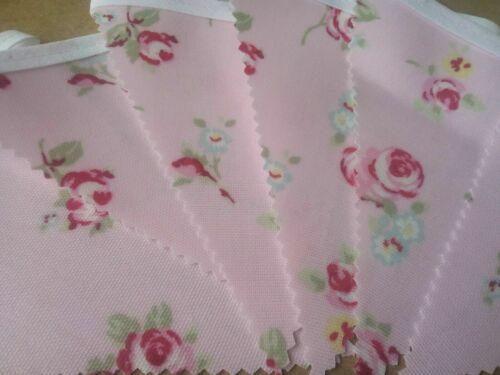 Handmade Pink Rose Bud PVC Bunting 12 flags