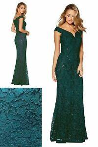 NEW-RRP-64-99-Quiz-Bottle-Green-Lace-Bardot-Maxi-Dress