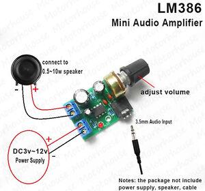 Details about LM386 Audio Power Amplifier Board DC 3V~12V 5V AMP Module  Adjustable volume Knob