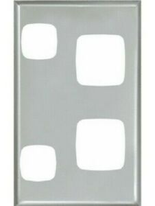 MATT SILVER HPM EXCEL 2-GANG COVERPLATE WALL SWITCH 73x117mm