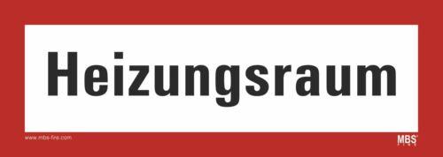 """Aufkleber nach DIN 4066 Hinweisschild Feuerwehr /"""" Heizungsraum /""""  210x74 mm"""