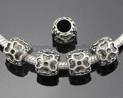 30pcs Tibetan Silver Four-Leaf Clover Dangle Charms Fit European Bracelet ZY61