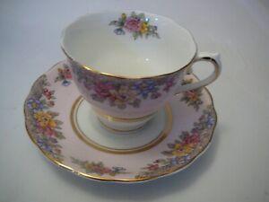 Tea Cup & Saucer Colclough Pink Floral Fine Bone China Longton England