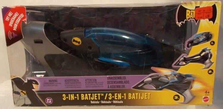 batman  animierte serie fahrzeug deluxe 3-in-1 batjet batplane von mattel mib