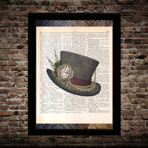 Hat-of-the-Mad-Hatter-Alice-in-Wonderland-print-on-dictionary-page-art-poster