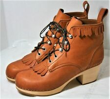 SWEDISH HASBEENS JUNGLE FRINGE BOOTS BROWN TAN LEATHER SHOES LACE UP NEW 40 $389