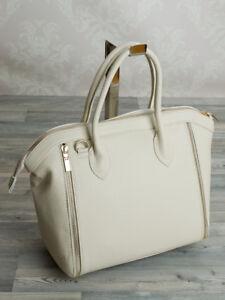 Ital-Designer-Damentasche-Tote-Bag-Tragetasche-Handtasche-echt-Leder-Beige-644BE