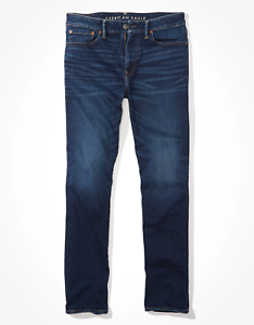American-Eagle-AirFlex-Relaxed-Straight-Jean-Dark-Indigo-Men-039-s-Size-40-x-34