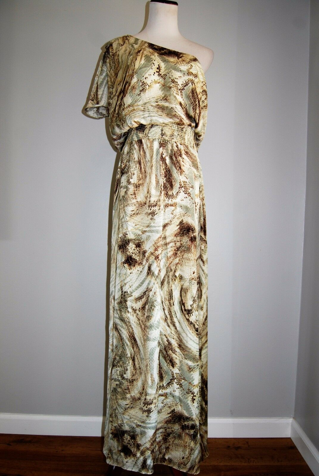 Eliza J Women's Floor Length One Shoulder Dress SZ 10 Cream Brown Animal Print