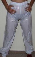 Pvc Jogging Sweat Sauna Rain Trousers Rubber Pants White Size S
