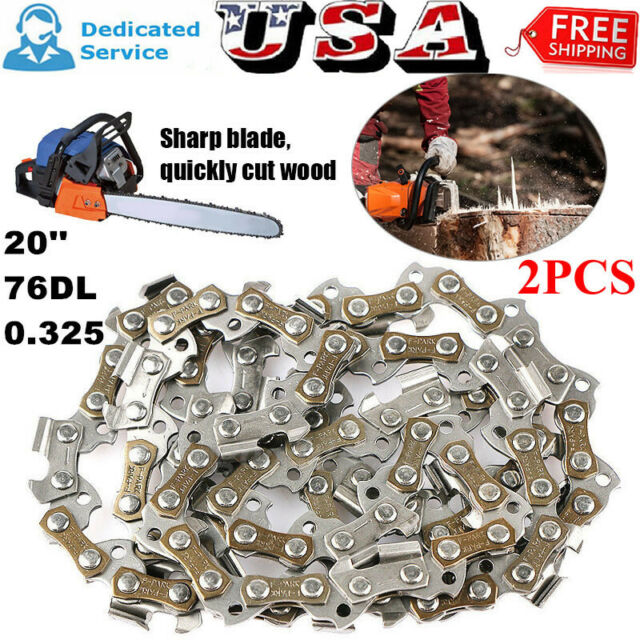 2Pcs Set 20inch 76 Drive Links 325pitch For 4500 5200 Chainsaw Saw Chain Parts