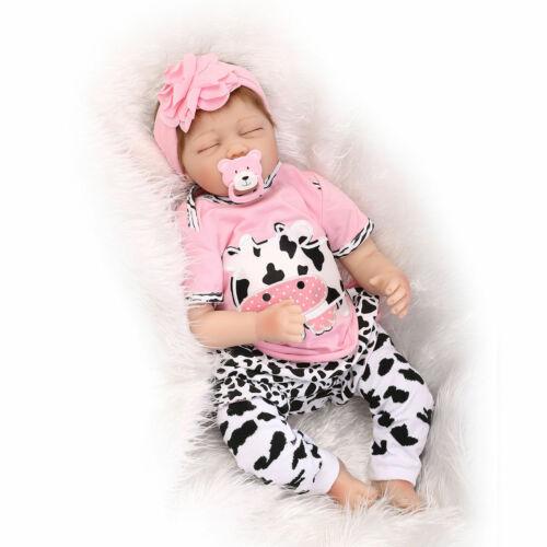 Nicery Reborn Baby Doll Soft Silicone Girl Toy 22inch 55cm Pink Cow Eyes Close