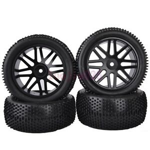 RC-1-10-Off-Road-Buggy-Car-Front-amp-Rear-Tyres-Tires-amp-Wheel-Rim-Black-6615AS