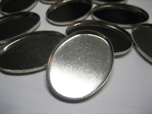 Rohlinge 27mm*20mm Cabochon Kameen 20x Steinfassungen silberfarben Fassung