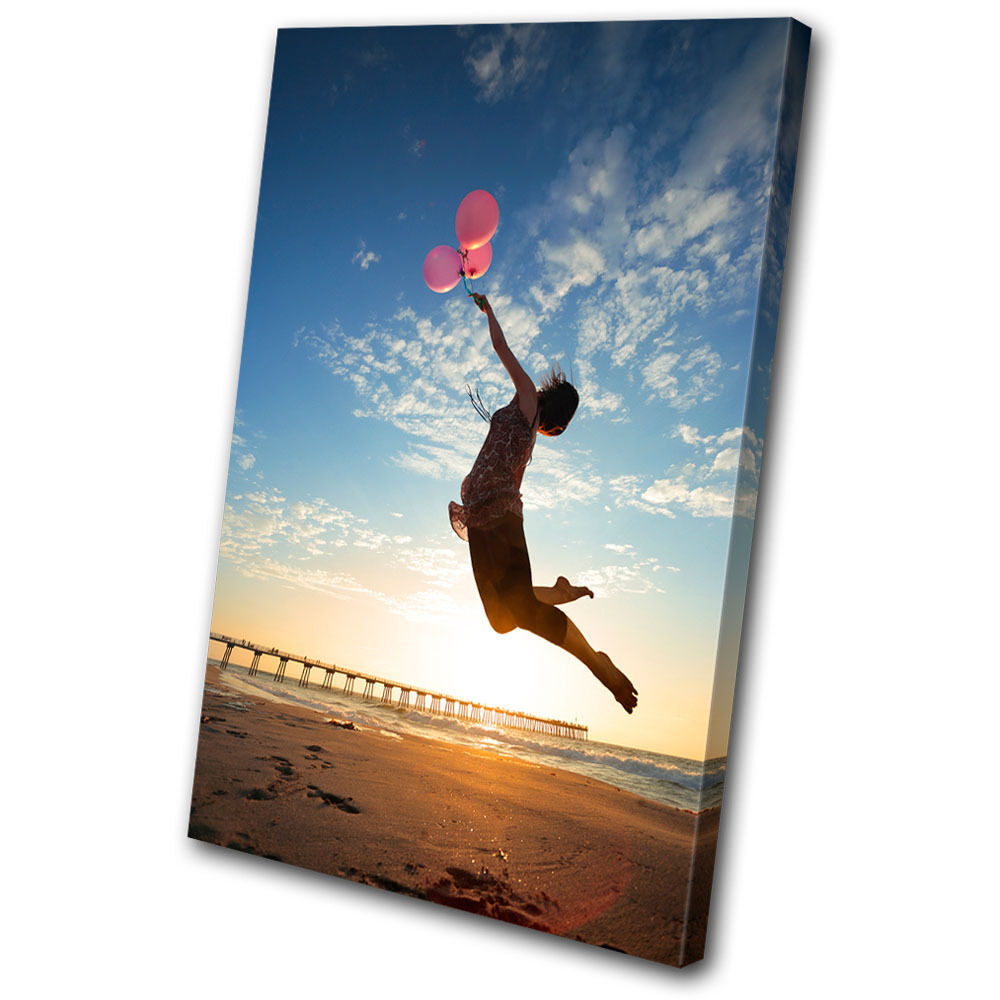 Sunset Seascape Girl Balloons SINGLE TELA parete arte foto stampa
