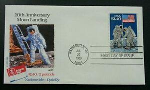 [SJ] USA Moon Landing 20th Anniversary 1989 Space Astronomy Flag Astronaut (FDC)