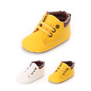 Newborn-Babies-Toddler-Girls-Boys-Lace-up-Crib-Shoes-Prewalker-Soft-Sneakers