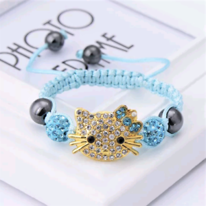 Hello-Kitty-Crystal-Encrusted-Gold-Charm-Turquoise-Blue-Shamballa-Bead-Bracelet