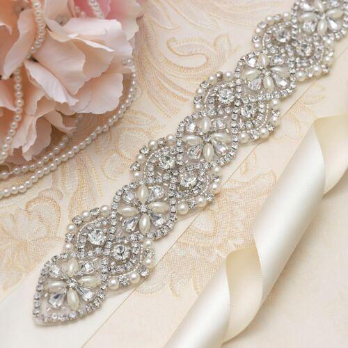 Rhinestone Sash Belt Costume Applique Bling Bead Crystal Wedding Headband Motif