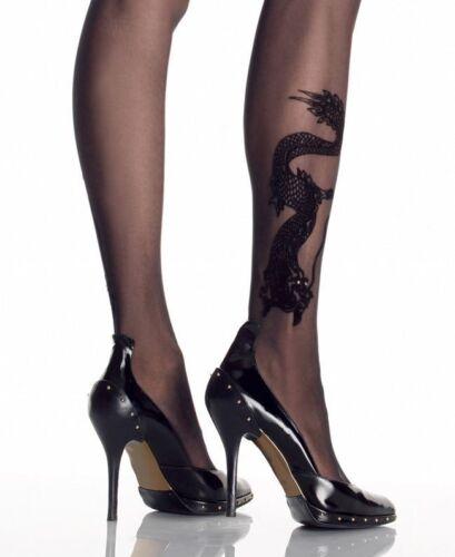 L COLLANT fantasia TATUAGGIO calze TATTOO drago nero Leg Avenue taglia unica S