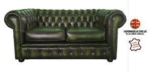 Image Is Loading Chesterfield 100 Pure Leather Two Seater Sofa Antique